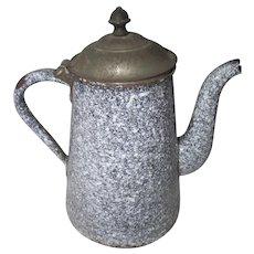Vintage Enamelware Gooseneck Teapot w/Tin Lid~Black White Speckled