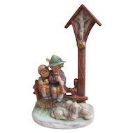 Vintage Hummel Goebel Figurine WAYSIDE DEVOTION #28/II~TMK 7~Lg Cross w/Lambs