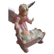 "Guardian Angel Baby in Cradle~Vintage Goebel Germany Weihnacht Lge Figurine 8"""