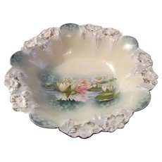 Icicle Mold Antique RS PRUSSIA Cabinet Bowl~Water Pond Lilies w/Blue Shading