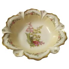 Canterbury Bells Antique RS PRUSSIA Cabinet Bowl~Matte Finish Scallop Edge 11""
