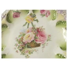 Antique RS PRUSSIA Cake Plate~Hanging Garden Basket Roses & Bow~Scalloped Edges 10.5""