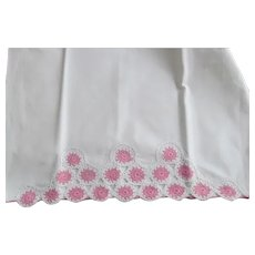 Pair~Vintage White Pillowcases Pink & White Crocheted Lace Center & Trim Edging