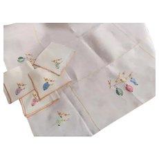 Japanese Lanterns~Vintage Rice Linen Tablecloth Napkins Luncheon Bridge Set~Looks Unused