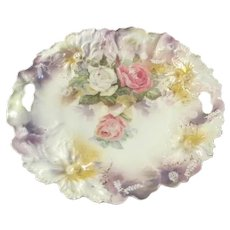 Carnation Mold Antique RS PRUSSIA Floral Luster Cake Plate~Pink & White Roses