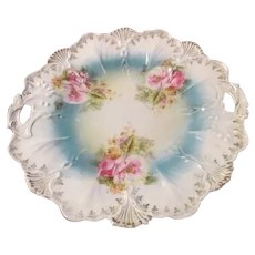 "Embossed Floral Antique RS PRUSSIA Floral Cake Plate 9.5""~Pink Flowers"