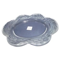 LALIQUE France Heavy Crystal Oval Dish Plate Tray w/Wide Border~Orig Tag~ESTATE FRESH!