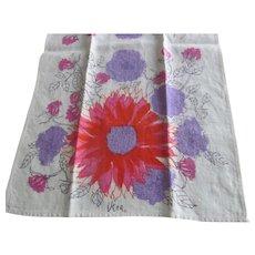 Vintage Retro VERA Neumann Linen Kitchen Towel~Red Purple BOLD Flowers