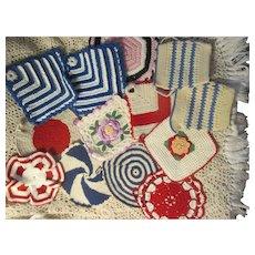 Lot of 12~Vintage Crocheted POTHOLDERS~Loads of Color~Creamer Sugar~Raised Rose