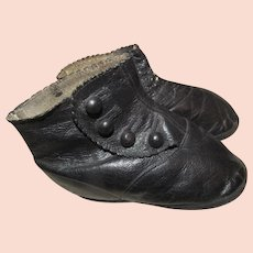 Too Cute~Antique Baby Toddler Black Leather Button High Top Boots~Doll Size Too
