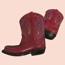 Unworn~RED Leather Childs Toddler COWBOY BOOTS Vintage 1960s~Cutout Flowers