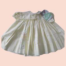 NWT~Vintage SEARS HONEYSUCKLE Baby Doll Dress Yellow w/Embroidered Lamb~12mos.