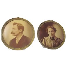 Pair~Antique Vintage Metal Tin Photo Picture Frames~Victorian Husband Wife 1890s