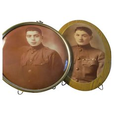 2 Antique Standing Photos~on Tin & Celluloid Metal Button~Boys Military Uniform