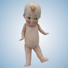 """Antique 5"""" KEWPIE All Bisque Doll Germany 10414~Jointed Limbs~Blue Bows"""
