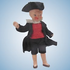 """Vintage Painted Bisque 4"""" Dollhouse Boy Doll Germany~Dressed as George Washington"""