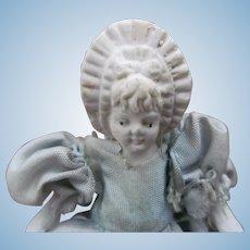 """Antique Miniature Stone Bisque Dollhouse Doll 4""""~Molded Bonnet Head Frozen Legs"""