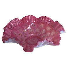 Vintage FENTON Cranberry Opalescent Glass Coin Dot Brides Basket Large Bowl