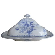 Vintage Blue Transferware 2pc Square Covered Serving Dish~BOOTHS English Rose