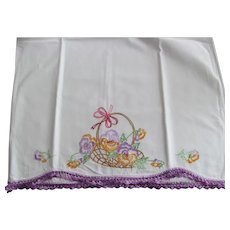 Pair~Basket of Pansy Flowers Vintage White Cotton Embroidered Pillowcases~Crocheted Lace