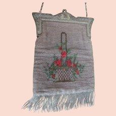Lovely Basket Red Roses Vintage Edwardian Glass Beaded Purse Bag w/Fringe~Nice Cond