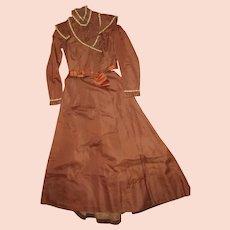 1880s Antique Victorian 2pc Dress~Slim Fit Bodice Jacket & Skirt~Beaded Trim