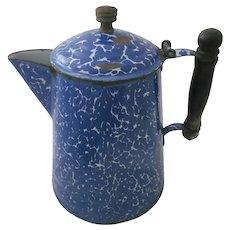 early 1900s Blue White Mottled Graniteware Coffeepot w/Wooden Handle