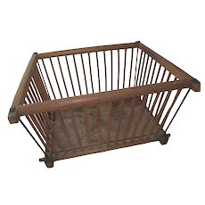 Primitive New England Antique 1800s Large Shaker Handmade Dowel Wood Crib Basket