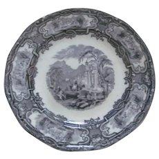 1848 Antique Black Transferware Plate GENOA~Davenport Staffordshire England