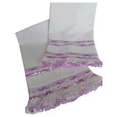 Pair~Vintage White Cotton Pillowcases w/Wide Purple Hand Crocheted Lace Edging