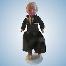 "Vintage Celluloid Jointed Boy Doll 9""~Orig Clothing Wooden Shoes 1930-40s"