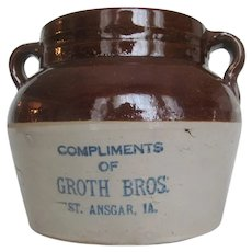 Red Wing Vintage Stoneware Advertising Bean Pot~Groth Bros St. Ansgar IA