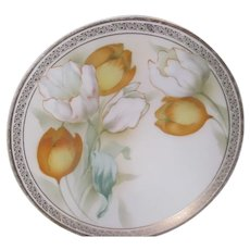 Delicate Graceful TULIPS Plate w/Gold Trim~RS Germany Poland 1918-21