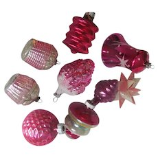 ALL PINKS~Lot of 7 Vintage Glass Christmas Ornaments~Lg Bell~Basket Roses~Grapes