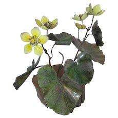 Vintage Brumm Enamel on Copper Metal Yellow Flowers & Leaves~Wood Base Sculpture