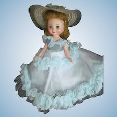 "1957 Vintage BETSY MCCALL 8"" Doll w/Blue Cotillion Dress & Hat Outfit~American Character"