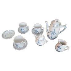 Vintage Blue White Decorated Porcelain Child Doll Toy Size TEA SET~Danish Style