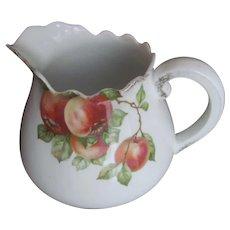 Vintage White Porcelain Austria Ale Cider Pitcher~Fruit APPLES Blossoms
