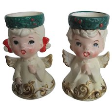 Pair Vintage LEFTON Christmas Angel Carolers Holly Wreath Candle Holders