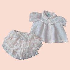 Vintage 50s Baby Girl Pink Crinkle 2pc Dress & Ruffled Panties~LIttle Craft Medium
