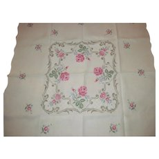 Fine Hand Embroidered Linen Tablecloth Vintage~Floral & Scrolls