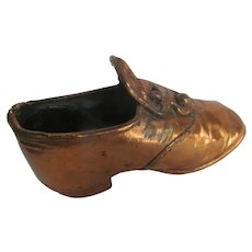 Baby Girl Bronze Copper Plated Slipper Shoe w/Buttons~early 1900s