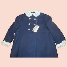 1960s LOMAY'S Label Girls Navy Blue Wool Coat w/Lace Collar Cuffs~Sz 6~orig Tags!