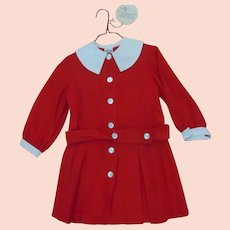 MOD 60s Red Pleated School Girl Dress w/White Collar & Belt~ALYSSA Tag