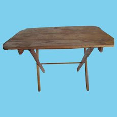 """Doll Toy Size Childs Small Vintage SEWING TABLE~Folds Flat~Oak Wood 15x9 top x 10"""" tall"""