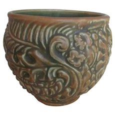 1920-30s Vintage WELLER Pottery Brown Green Leaf Floral Berry Planter Jardiniere