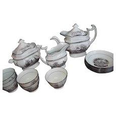 19thC English Tea Set Black Transfer~Teapot Handleless Cups 15pc