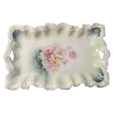 ROSES Antique RS PRUSSIA Dresser Perfume Vanity Tray~Stippled & Floral Border
