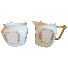 Hand Painted Soft Rosebuds Roses Vintage Creamer & Sugar Set~Hutschenreuther Germany