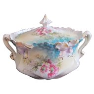Iris Mold RS PRUSSIA Antique Floral Cracker Biscuit Jar~Pink Flowers w/Blue